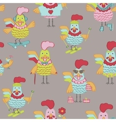 Seanless pattern with roosters vector