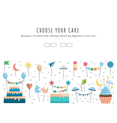 Set cake and cupcake toppers vector
