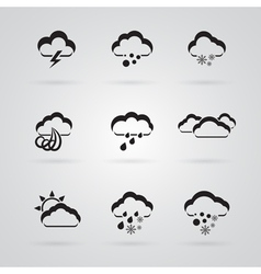 Set of grey weather icons vector