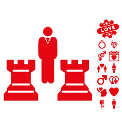 Strategy chess towers icon with valentine bonus vector