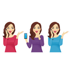 Surprised woman with phone vector