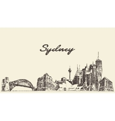 Sydney skyline vintage drawn sketch vector image