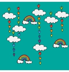 Symbol of rainbow and clouds in the sky vector