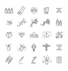 Tattoo salon master icon set vector
