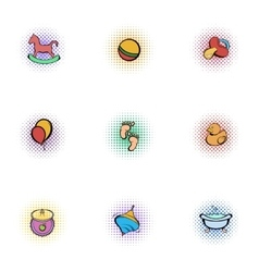 Things for baby icons set pop-art style vector