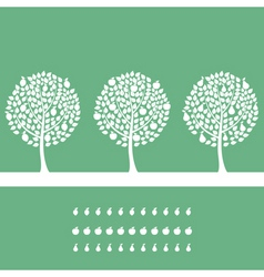 Three trees on a green background a vector illustr vector