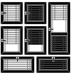 Venetian blind window black symbols vector