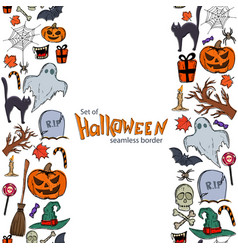 vertical seamless borders of halloween icons vector image