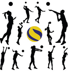 volleyball man and woman player vector image vector image