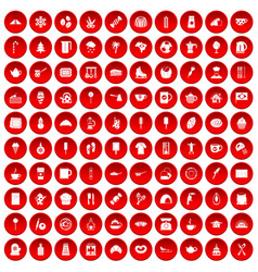 100 coffee icons set red vector