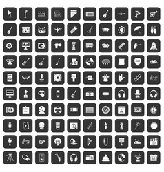 100 show business icons set black vector