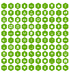 100 well person icons hexagon green vector