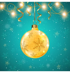 Golden shining christmas decoration and ribbons vector