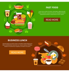 Fast food business lunch flat banners vector