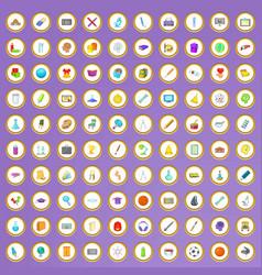 100 school icons set in cartoon style vector image