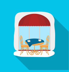 Served table near cafe icon in flat style isolated vector