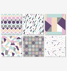 Delicate set of seamless patterns in memphis style vector