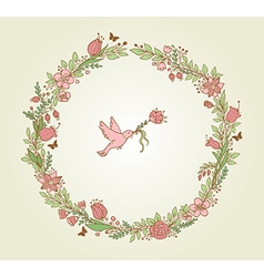 Wreath of pink flowers leaves and bird vector