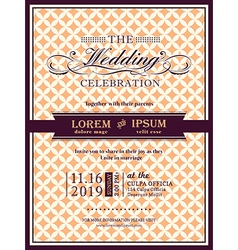 Ribbon banner Wedding invitation frame template vector image