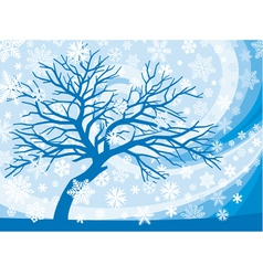 Winter tree and snowflakes vector