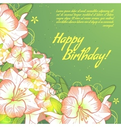 Floral decorative card with white amaryllis vector