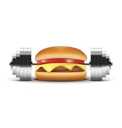 Fast food burger with barbell inside vector