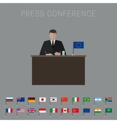 Press conference banner vector
