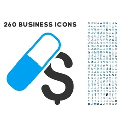 Medication Business Icon with Flat Set vector image