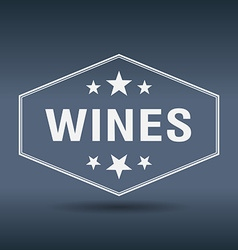 Wines hexagonal white vintage retro style label vector