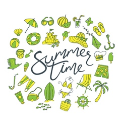 Summer time pattern green yellow vector