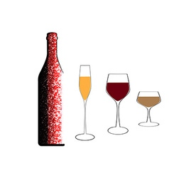 A bottle of wine and glasses vector