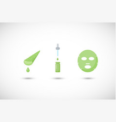aloe vera facial mask flat icons set vector image