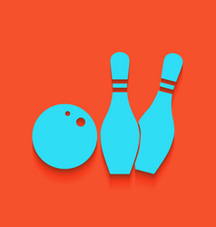 Bowling sign whitish icon on vector