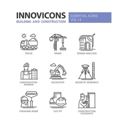 Building and construction line design icons vector image vector image