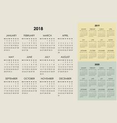 Calendar 2018 2019 2020 years vector