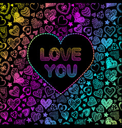 card with colorful hearts vector image vector image