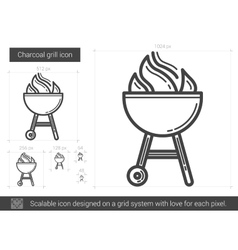 Charcoal grill line icon vector