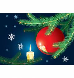 Christmas-tree branch and candle vector image vector image