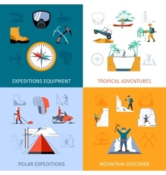 Expedition flat set vector
