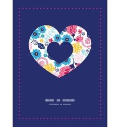 Fairytale flowers heart symbol frame vector