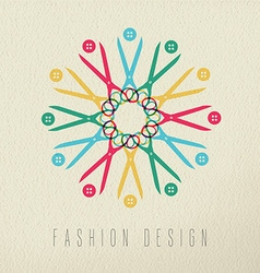 Fashion design color concept textile tools vector image vector image