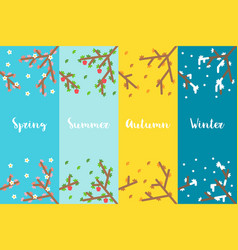 Flat design 4 seasons branch set vector