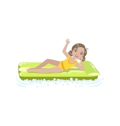 Girl laying on the water air bed vector