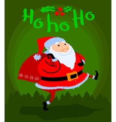 Greeting Christmas card with cute cartoon Santa vector image