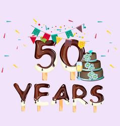 Happy birthday fifty 50 year card vector