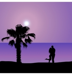 Loving couple on the seashore at night vector