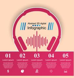 Music education infographic headphones icon vector