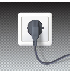 realistic black plugs inserted in electrical vector image vector image