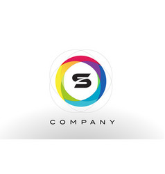 S letter logo with rainbow circle design vector