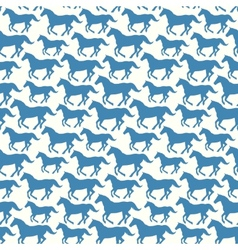 Seamless pattern with stylized silhouette horses vector image